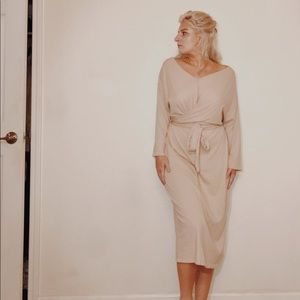 beige midi wrap dress